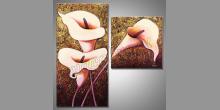 Dvoj dielny Kvet, obraz ručne maľovaný