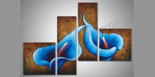 Modré kvety, ručne maľovaný obraz