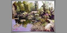 Cestička pri jazere, obraz je maľovaný ručne