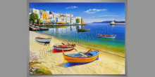 Člny na pláži, ručne maľované