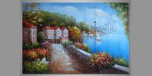 Domy v prístave, umelecky obraz