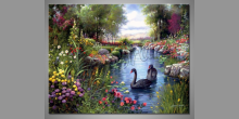 Dve labute, obraz ručne maľovaný
