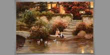 Hra deti pri jazierku, obraz maľovaný ručne