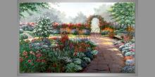 Kvetná záhrada, maľovaný obraz ručne