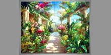 Kvety v skleníku, ručne maľovaný obraz