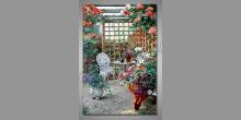Biela stolička,ručne maľovaný obraz