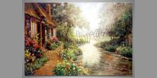 Dom pri riečke, obraz ručne maľovaný