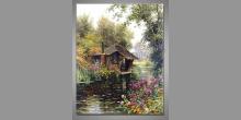 Drevený domček na vode, maľovaný obraz ručne
