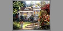 Drevený domček, obraz ručne maľovaný