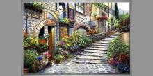 Kamenná ulica, ručne maľovaný obraz