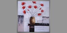 Kvety vo váze, maľovaný obraz ručne