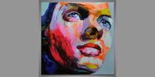 """Zamyslená """", obraz maľovaný ručne"""
