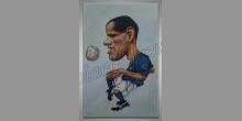 Hráč s loptou, ručne maľovaný obraz