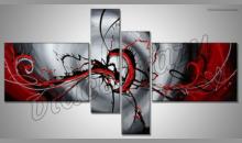 Abstrakt červený, ručne maľovaný obraz