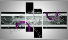 Fialové kruhy, obraz ručne maľovaný