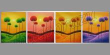 Farebné krajiny, ručne maľovaný obraz