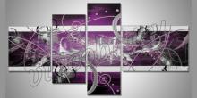 Geometri fialová, ručne maľovaný obraz