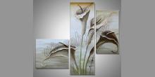 Biele kvety, umelecky maľovaný obraz