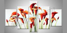 Biely obraz s červenými kvetmi, ručne maľované
