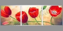 Červené kvety na 3-Dielnom obraze, ručne maľované