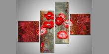 Červené kvety, umelecky maľovaný obraz
