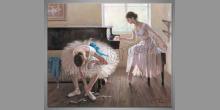 Hra na klavíri, ručne maľované