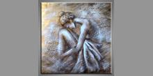 Smútok ženy, obraz  je maľovaný ručne