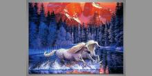 Biele kone, umelecky maľovaný obraz