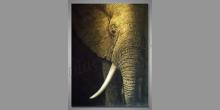 Hlava slona, obraz ručne maľovaný