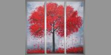 Červený strom, maľovaný obraz ručne