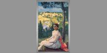 Dievča a výhľad na krajinu, umelecky maľované