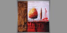 Dva rôzne stromy, obraz ručne maľovaný