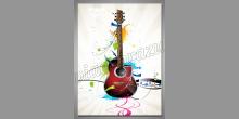 Červená gitara, obraz tlačený