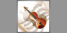 Husle a noty, digitálne tlačený obraz